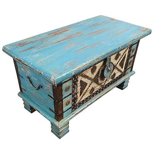 Indoortrend.com Truhe Kiste Holztruhe Box 80 Vintage Rot Shabby Chic aus Handarbeit Unikat 5