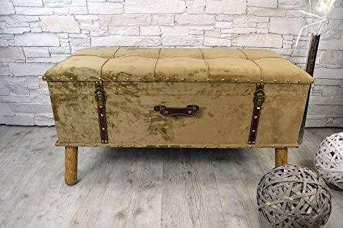 Livitat® Hocker Polsterhocker Suitcase Pouf Truhe Staufach Truhenbank Sitzbank Ottomane B90 x T40 x H47 cm LV2079 (Braun)