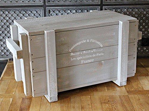 dekorie67 Truhe aus Holz sehr stabil grau Shabby Vintage fertig montiert - 2