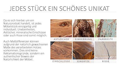 Invicta Interior Massive Truhe Factory LOFT 81cm Mangoholz grau mit Ziernieten Couchtisch Truhenbank Holztruhe mit Stauraum - 7