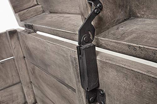 Invicta Interior Massive Truhe Factory LOFT 81cm Mangoholz grau mit Ziernieten Couchtisch Truhenbank Holztruhe mit Stauraum - 8