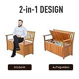 Outsunny Gartenbank Truhenbank Sitzbank mit Stauraum 2-Sitzer Holz Braun B120 x T60 x H87cm - 4
