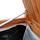 Outsunny Gartenbank Truhenbank Sitzbank mit Stauraum 2-Sitzer Holz Braun B120 x T60 x H87cm - 8
