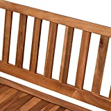 Outsunny Gartenbank Truhenbank Sitzbank mit Stauraum 2-Sitzer Holz Braun B120 x T60 x H87cm - 7