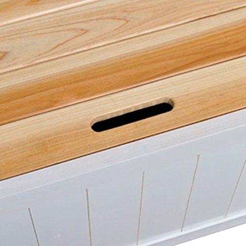 Gartenbank und Kissenbox Eden, Garten Parkbank Sitzbank Truhenbank Flurbank, aus Holz mit Speicherraum für Zuhause Garten & Balkon Weiß 126 x 42 x 75 cm (B x T x H) - 6