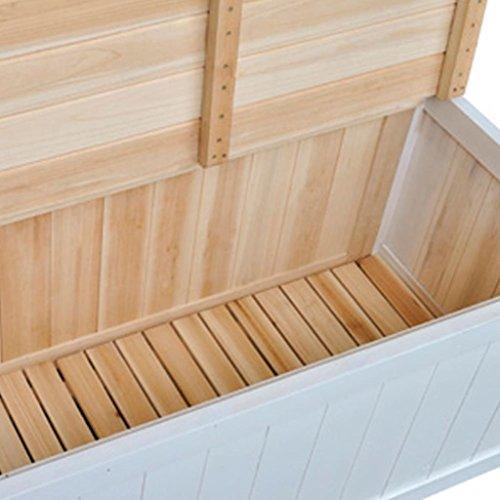 Gartenbank und Kissenbox Eden, Garten Parkbank Sitzbank Truhenbank Flurbank, aus Holz mit Speicherraum für Zuhause Garten & Balkon Weiß 126 x 42 x 75 cm (B x T x H) - 4