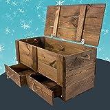 Moooble 1x Holztruhe mit Deckel + 2 Schubladen | 85,5x42x43,5 cm | stabile Spielzeugtruhe Holz als 'Schatzkiste' mit viel Platz | zum sitzen