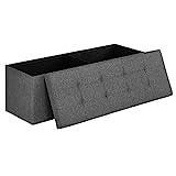Songmics Sitztruhe 3-Sitzer Leinen, dunkelgrau, 110x38x38cm
