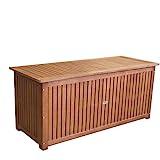 Wohaga® Hartholz Auflagenbox Kissenbox Gartenbox Auflagentruhe Eukalyptus geölt inkl. Innenfolie 133x58x55cm