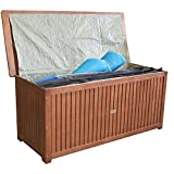 Wohaga® Hartholz Auflagenbox Kissenbox Gartenbox Auflagentruhe Eukalyptus geölt inkl. Innenfolie 133x58x55cm - 6
