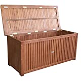 Wohaga® Hartholz Auflagenbox Kissenbox Gartenbox Auflagentruhe Eukalyptus geölt inkl. Innenfolie 133x58x55cm - 5