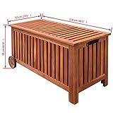 vidaXL 41772 Aufbewahrungsbox Gartentruhe Gartenbox Kissenbox + Räder Holz 118x52x58cm, One Size - 6