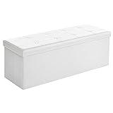 Songmics Sitztruhe 3-Sitzer Kunstleder, weiß, 110x38x38cm