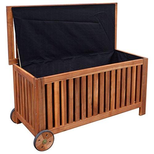 Festnight Auflagenbox Holz Gartenbox Outdoor Aufbewahrungsbox 118 x 52 x 58 cm für Garten Patio oder Terrasse