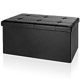 Sitzbank 3-Sitzer Kunstleder schwarz 80x40x38cm