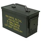 HMF 70011 Munitionskoffer, US Ammo Box, Metallkiste, 30 x 19 x 15,5 cm, grün