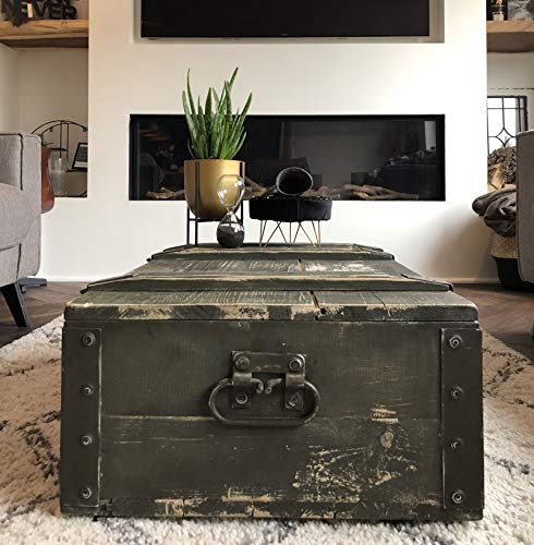 Stylingathome.de Munitionskiste naturell Größe XXL | 85x53x26 cm (LxBxH) | Stylische Vintage Aufbewahrungskiste in Grün/Grau aus massivem Holz