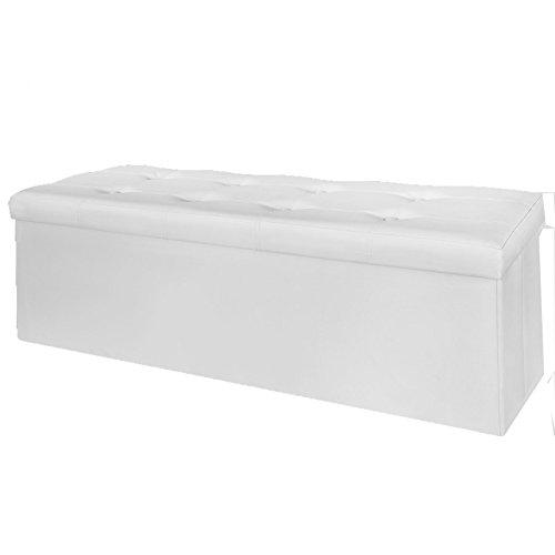 SoBuy Sitztruhe in Lederoptik weiß, 110cm