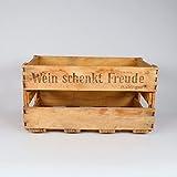 """Obstkisten-online Stabile alte Weinkiste mit Schriftzug """"Wein schenkt Freude"""" Deko Gebraucht (4,8)"""