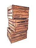 Geflammte Holzkisten im Set-Angebot: Originale, Vintage Obstkisten Apfelkisten aus dem Alten Land zum Möbelbau oder Dekoration mit den Maßen 50 x 40 x 30cm (3er Set)