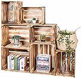 LAUBLUST 7er Set Vintage Holzkisten - Kisten in 2 Größen, 50x40x30cm / 40x30x25cm, Geflammt, Neu, Unbenutzt | Möbel-Kiste | Wein-Kiste | Obst-Kiste | Apfel-Kiste | Deko-Kiste aus Holz