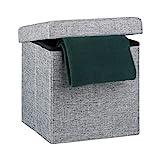 Relaxdays faltbarer Sitzhocker aus Leinen, grau, 38cm