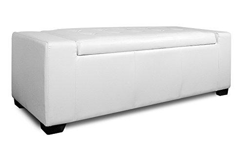 Kingston Sitztruhe Kunstleder, weiß, 128x52x44cm