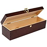 Creative Deco Braune Wein-Kiste aus Natürliches Kiefern-Holz   Wein-Box für 1 Flasche mit Deckel und Verschluss   35,1 x 11 x 10 cm   Perfekt für Lagerung, Dekoration oder als Geschenk-Holzkiste