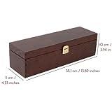 Creative Deco Braune Wein-Kiste aus Natürliches Kiefern-Holz   Wein-Box für 1 Flasche mit Deckel und Verschluss   35,1 x 11 x 10 cm   Perfekt für Lagerung, Dekoration oder als Geschenk-Holzkiste - 2