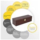 Creative Deco Braune Wein-Kiste aus Natürliches Kiefern-Holz   Wein-Box für 1 Flasche mit Deckel und Verschluss   35,1 x 11 x 10 cm   Perfekt für Lagerung, Dekoration oder als Geschenk-Holzkiste - 5