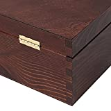 Creative Deco Braune Wein-Kiste aus Natürliches Kiefern-Holz   Wein-Box für 1 Flasche mit Deckel und Verschluss   35,1 x 11 x 10 cm   Perfekt für Lagerung, Dekoration oder als Geschenk-Holzkiste - 6