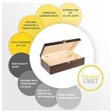 Creative Deco Braune Wein-Kiste aus Natürliches Kiefern-Holz | Wein-Box für 2 Flaschen mit Deckel und Verschluss | 35 x 20 x 10 cm | Perfekt für Lagerung, Dekoration oder als Geschenk-Holzkiste - 2