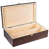 Creative Deco Braune Wein-Kiste aus Natürliches Kiefern-Holz | Wein-Box für 2 Flaschen mit Deckel und Verschluss | 35 x 20 x 10 cm | Perfekt für Lagerung, Dekoration oder als Geschenk-Holzkiste - 4