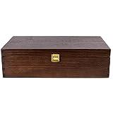 Creative Deco Braune Wein-Kiste aus Natürliches Kiefern-Holz | Wein-Box für 2 Flaschen mit Deckel und Verschluss | 35 x 20 x 10 cm | Perfekt für Lagerung, Dekoration oder als Geschenk-Holzkiste - 5