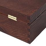 Creative Deco Braune Wein-Kiste aus Natürliches Kiefern-Holz | Wein-Box für 2 Flaschen mit Deckel und Verschluss | 35 x 20 x 10 cm | Perfekt für Lagerung, Dekoration oder als Geschenk-Holzkiste - 7