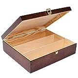 Creative Braune Deco Wein-Kiste aus Natürliches Kiefern-Holz | Wein-Box für 3 Flaschen mit Deckel und Verschluss | 35 x 30 x 10 cm | Perfekt für Lagerung, Dekoration oder als Geschenk-Holzkiste