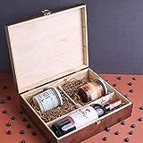 Creative Braune Deco Wein-Kiste aus Natürliches Kiefern-Holz | Wein-Box für 3 Flaschen mit Deckel und Verschluss | 35 x 30 x 10 cm | Perfekt für Lagerung, Dekoration oder als Geschenk-Holzkiste - 2