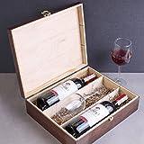 Creative Braune Deco Wein-Kiste aus Natürliches Kiefern-Holz | Wein-Box für 3 Flaschen mit Deckel und Verschluss | 35 x 30 x 10 cm | Perfekt für Lagerung, Dekoration oder als Geschenk-Holzkiste - 4