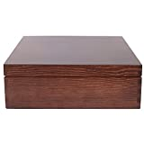 Creative Braune Deco Wein-Kiste aus Natürliches Kiefern-Holz | Wein-Box für 3 Flaschen mit Deckel und Verschluss | 35 x 30 x 10 cm | Perfekt für Lagerung, Dekoration oder als Geschenk-Holzkiste - 7