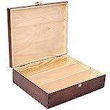 Creative Braune Deco Wein-Kiste aus Natürliches Kiefern-Holz | Wein-Box für 3 Flaschen mit Deckel und Verschluss | 35 x 30 x 10 cm | Perfekt für Lagerung, Dekoration oder als Geschenk-Holzkiste - 5