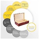 Creative Deco Rote Wein-Kiste aus Natürliches Kiefern-Holz | Wein-Box für 2 Flaschen mit Deckel und Verschluss | 35 x 20 x 10 cm | Perfekt für Lagerung, Dekoration oder als Geschenk-Holzkiste - 2
