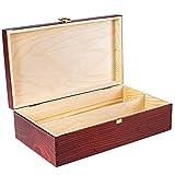 Creative Deco Rote Wein-Kiste aus Natürliches Kiefern-Holz | Wein-Box für 2 Flaschen mit Deckel und Verschluss | 35 x 20 x 10 cm | Perfekt für Lagerung, Dekoration oder als Geschenk-Holzkiste - 4