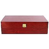 Creative Deco Rote Wein-Kiste aus Natürliches Kiefern-Holz | Wein-Box für 2 Flaschen mit Deckel und Verschluss | 35 x 20 x 10 cm | Perfekt für Lagerung, Dekoration oder als Geschenk-Holzkiste - 5