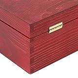 Creative Deco Rote Wein-Kiste aus Natürliches Kiefern-Holz | Wein-Box für 2 Flaschen mit Deckel und Verschluss | 35 x 20 x 10 cm | Perfekt für Lagerung, Dekoration oder als Geschenk-Holzkiste - 6