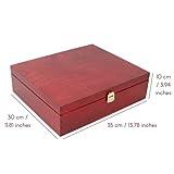 Creative Deco Rote Wein-Kiste aus Natürliches Kiefern-Holz | Wein-Box für 3 Flaschen mit Deckel und Verschluss | 35 x 30 x 10 cm | Perfekt für Lagerung, Dekoration oder als Geschenk-Holzkiste - 3