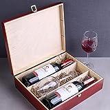 Creative Deco Rote Wein-Kiste aus Natürliches Kiefern-Holz | Wein-Box für 3 Flaschen mit Deckel und Verschluss | 35 x 30 x 10 cm | Perfekt für Lagerung, Dekoration oder als Geschenk-Holzkiste - 5