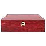 Creative Deco Rote Wein-Kiste aus Natürliches Kiefern-Holz | Wein-Box für 3 Flaschen mit Deckel und Verschluss | 35 x 30 x 10 cm | Perfekt für Lagerung, Dekoration oder als Geschenk-Holzkiste - 4