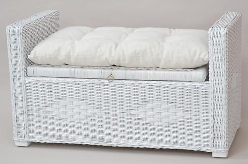 Sitztruhe Wäschetruhe Rattantruhe mit Kissen, weiß, 89x46x52cm