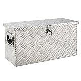 Arebos Aluminiumbox Werkzeugbox Deichselbox / 40 Liter / 60 x 25 x 30 cm/Inkl. Moosgummidichtung/Silber