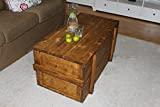 Uncle Joe´s Holzkiste Truhe Couchtisch Beistelltisch Vintage Shabby chic Landhaus Massivholz nussbaum